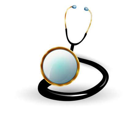 audition: realistic illustration of the stethoscope, stylized gold