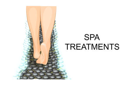 chiropody: illustration of the feet, heels, Spa procedures for feet Illustration