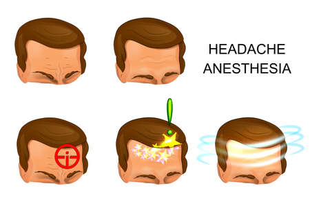 neuralgia: illustration of male head, pain, pain relief. against pain
