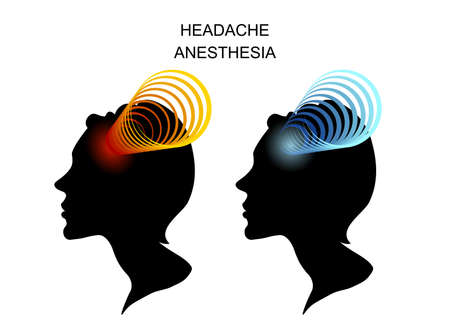 analgesia: illustration of headache in women. migraine Illustration