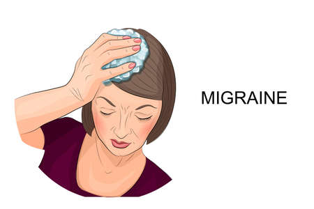 the weariness: illustration of a woman suffering from headache holding ice on his head Illustration
