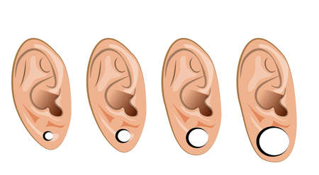 pierced: illustration of the piercing, the extension of the tunnel in the ears Illustration