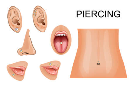 bellybutton: illustration of piercings on different parts of the body