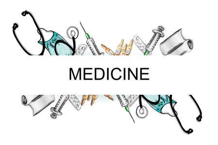 vials: illustration of medical devices. phonendoscope,bandage, vials