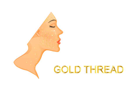 illustration of facial rejuvenation and neck with gold thread.before and after Çizim
