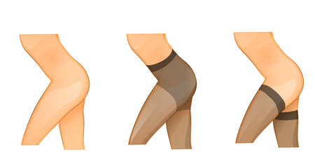 illustration of female legs and control top pantyhose Illustration