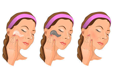 vector illustration of a girl putting a mask or a cream. for medical publications Illustration