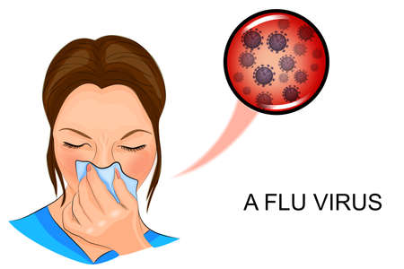 blowing nose: vector illustration of a sick woman for medical publications.