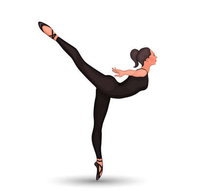 vector illustration of the the girls training in Pointe shoes.  arabesco