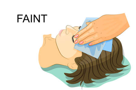 Passed out: vector illustration of a girl passed out cold wet napkin on her forehead Illustration