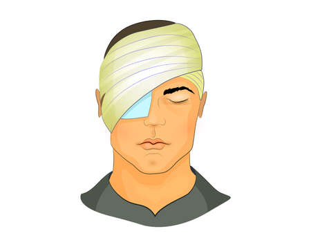 ilustración vectorial de un vendaje postoperatorio en el ojo