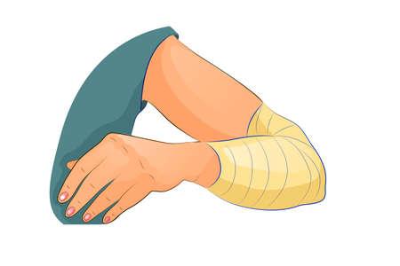 ilustración vectorial de vendaje en el codo