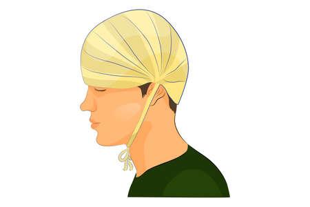 """luxacion: ilustración vectorial de vendaje en el """"tope"""" cabeza"""