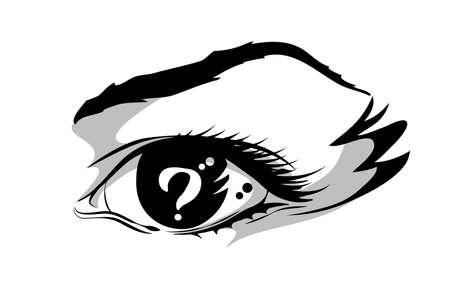 中に疑問符が付いている目のイラスト。  イラスト・ベクター素材