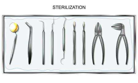 Vector illustration of dental tools in sterilization tray