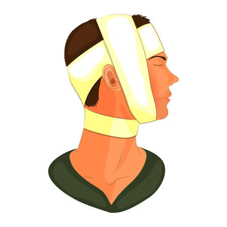 recuperation: vector illustration of bandaging the patients head