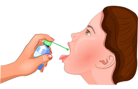 Illustration of treatment of the tonsils with an antiseptic. Illustration
