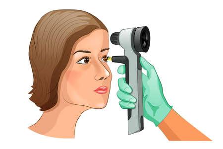 眼底検査は、検眼鏡を使ってのベクター イラストです。