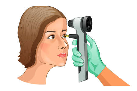 Ophthalmoscope를 사용하여 안저 검사의 벡터 일러스트 레이션.