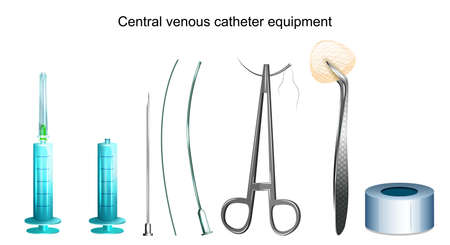 vector illustration of a central venous catheter equipment Illustration