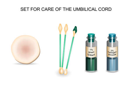 vector illustration of a set for care of the umbilical cord Иллюстрация