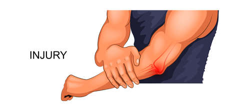vector illustration of an injured male elbow