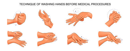 Illustration of washing hands.