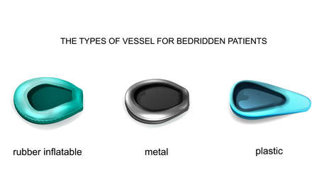 vector illustration types of vessel for bedridden patients