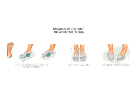 kneading of the foot, preparing for fitness Ilustração