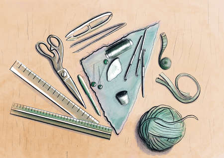 Illustration of set of sewing tools