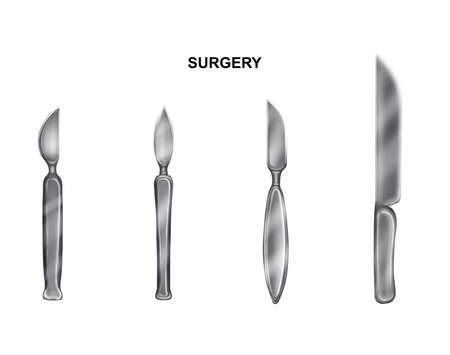 illustration of the scalpels and the knives resection and amputation