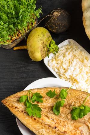 mackerel with turnip, pea tendrils, parsley