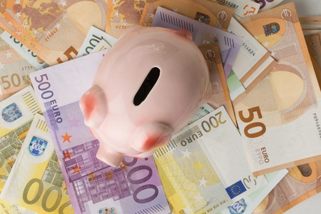 different euro banknotes cash and piggy