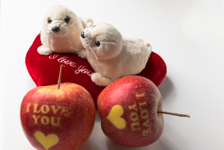 love heart with apple i love you
