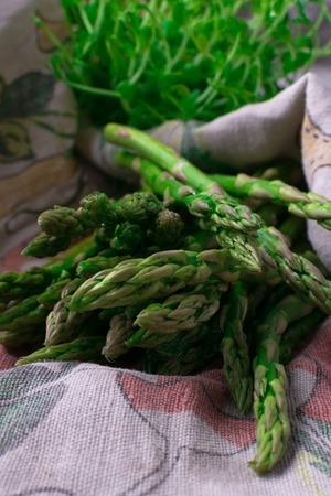 a lot of healthy raw fresh green organic asparagus Stock fotó