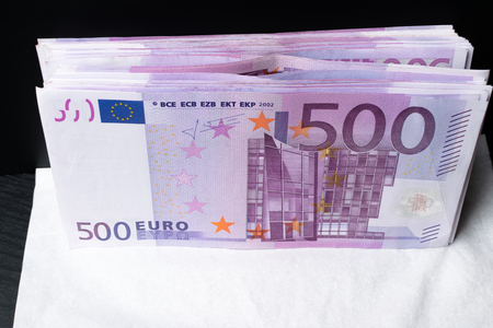 Big amount of Five hundred notes of European Union Currency background