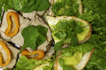 Fresh prepared bread slices or sandwiches with homemade mackerel or tuna fish and pork liver paste, lettuce, parsley, Toasts with avocado paste and orange pepper, healthy nutrition concept Zdjęcie Seryjne