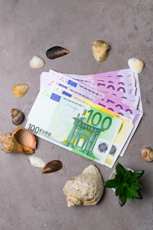 Seashells, cactus, with euro money holiday money. Money for vacation