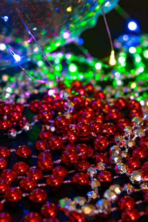 Red glitter vintage lights background. defocused christmas and new year card