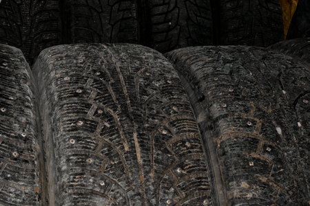 winter wheels stack isolated on black