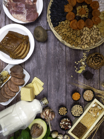 Foods with Zinc mineral on a wooden table. Top view copy space