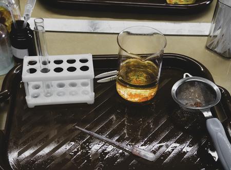 Molecular gastronomy dessert, orange pearls, molecular cuisine