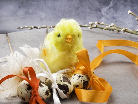 easter eggs, yellow chicken toy, willow- the symbol of Easter, copy space Standard-Bild - 119578871