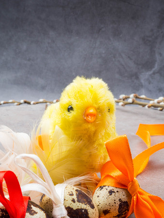 easter eggs, yellow chicken toy, willow- the symbol of Easter, copy space Standard-Bild - 119578873