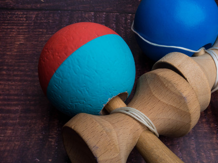 Kendama japanese toy, ball and rope