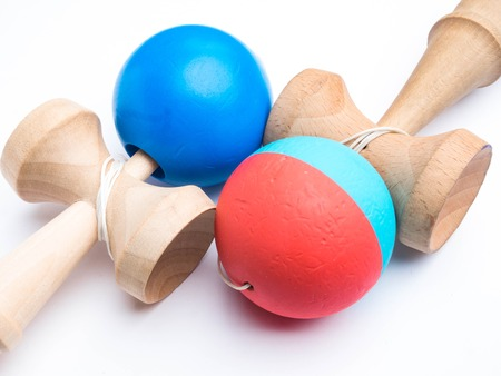 two Kendama japanese toys, competition sport concept, used and new kendama toys