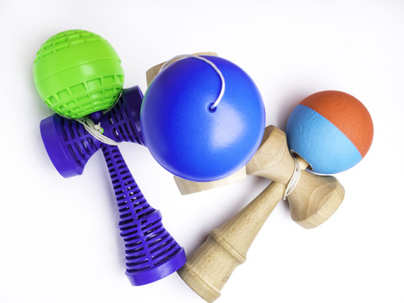 Kendama japanese toys, competition sport concept, used and new kendama toys Imagens