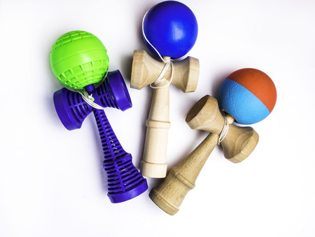 Kendama japanese toys, competition sport concept, used and new kendama toys
