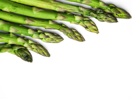 Asparagus on white background, copy space