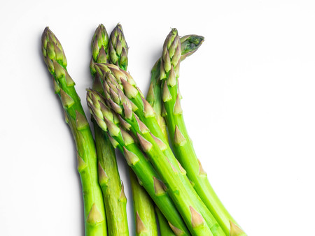 Asparagus on white background copy space